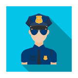 Police officer icon in flat style isolated on white background. Police symbol stock vector illustration. Stock Photography