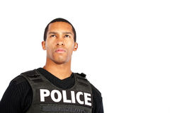Police officer isolated on white background. Young police officer watches for trouble royalty free stock image