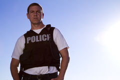 Police Officer Looks at the Camera Stock Photography