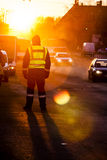 Police officer observe busy traffic Stock Photography