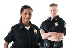 Free Police: Officer Partners Standing Together Stock Photo - 123814610
