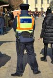 Police officer patrol on the street. Outdoor stock photos