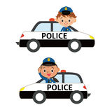 Police officer in a police car Stock Photography