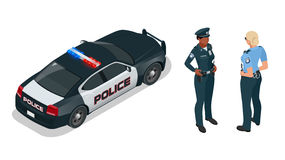 Police officer and police car with siren light blinking. Police officer in uniform, modern police car, police woman Stock Photos