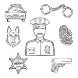 Police officer or policeman profession sketch icon. Sketch of police officer in uniform with badge and peaked hat with police car, pistol, handcuffs, sheriff Royalty Free Stock Photo