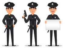 Police officer, policeman. Set of cartoon character cop angry, with a gun and with placard Stock Image