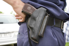 Police officer`s holsten with. PM gun Royalty Free Stock Photo