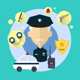 Police Officer Senior Man Icon Stock Image
