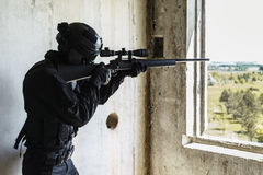 Police officer SWAT in action Royalty Free Stock Image