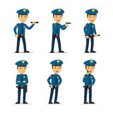 Police officer vector character. Police officer character in different poses. Vector illustration Stock Image