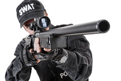 Police officer with weapons Royalty Free Stock Image