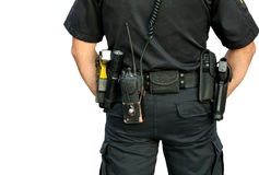 Police officer wearing gun belt. Police officer wearing a gun belt from behind isolated on white royalty free stock images