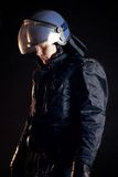 Police Officer Wearing Protective Uniform. As protection from protesters royalty free stock photos