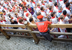 Police officer working at  festival of San Fermin Royalty Free Stock Photo