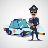 Police officer writing ticket with police car. character design Stock Photos