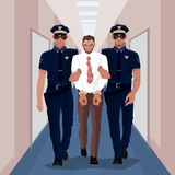 Police officers arrested businessman at office. And lead him with handcuffs in business center. Corruption or Crime concept. Simplistic realistic cartoon style Stock Image