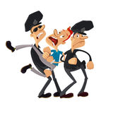 Police officers arrested man. Two police officers and resisting arrested man Royalty Free Stock Image
