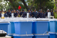 Police officers and ballot boxes Royalty Free Stock Photos