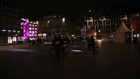 Police officers on bike surveillance city at night stock video footage