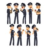 Police officers in blue uniform drinking coffee and eating donuts, policemen cartoon characters set vector Illustration. Isolated on a white background Royalty Free Stock Image