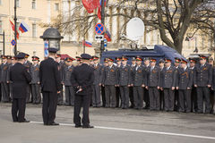 Police officers of the city of St. Petersburg. St. Petersburg, Russia - May 9: Police officers pass instructing before a cordon of Palace Square during parade stock image