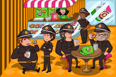 Police officers in a donuts store Stock Photos