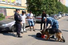 Police officers inspect the documents on the streets in the suburban town of Khimki Royalty Free Stock Images