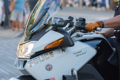 Police officers on motorcycles performing Stock Image