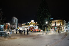 Police officers on near Central Christmas tree after attacks. STRASBOURG, FRANCE - 14 NOV 2015: Police officers on near Central Christmas tree in the center of Stock Photography