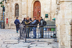 Police officers in the old city of Jerusalem. JERUSALEM, ISRAEL - DECEMBER 26, 2016:  police officers are taking care of the security in the old city of Stock Images