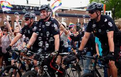 Free Police Officers On Bicycles At Pride Parade Royalty Free Stock Images - 174807039