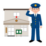 Police officers and police station Stock Photo