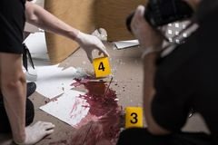 Police officers are professional. Police officers must be professional at the crime scene Stock Photos