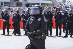 Police officers ready in riot gear Stock Photography