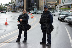 Police officers on the street during Academy Awards Royalty Free Stock Photos