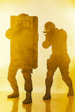 Police officers SWAT with ballistic shield Royalty Free Stock Photo