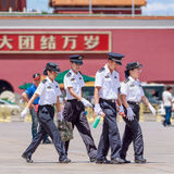 Police officers on Tiananmen Square, Beijing, China Royalty Free Stock Photography