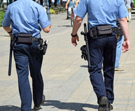 Police officers. Walk on the street Royalty Free Stock Photography