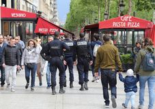 Police On The Champs-Elysees In Paris, France Stock Images