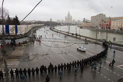 The police at an opposition March memory Nemtsov Stock Image