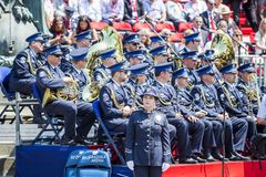 Police orchestra dressed in uniforms waiting to start their performance royalty free stock photos