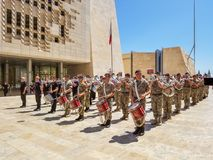 Police orchestra parade in Valletta city centre. Valletta, Malta - May 2018: Police orchestra parade in Valletta city centre Stock Image