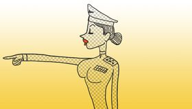 Police orders. Female police officer pointing with extended arm simulating giving orders, original design of gray grid and warm yellow background Royalty Free Stock Photo