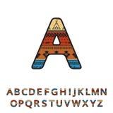 Police ornementale tirée par la main ethnique aztèque Alphabet coloré anglais de vecteur Photos libres de droits