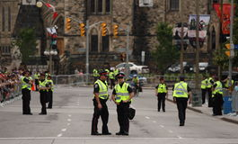 Police in Ottawa Await Will and Kate Royalty Free Stock Images