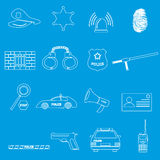 Police outline simple icons set eps10 Royalty Free Stock Image