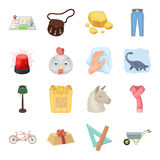 Police, packing, rodeo and other web icon in cartoon style.Animals, education, sports icons in set collection. Royalty Free Stock Photo