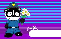 Police panda bear kid cartoon background Stock Images
