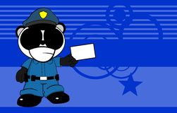 Police panda bear kid cartoon background4 Royalty Free Stock Images