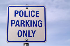Police Parking Only Sign Stock Photography